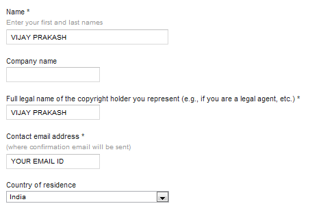 googld dmca application