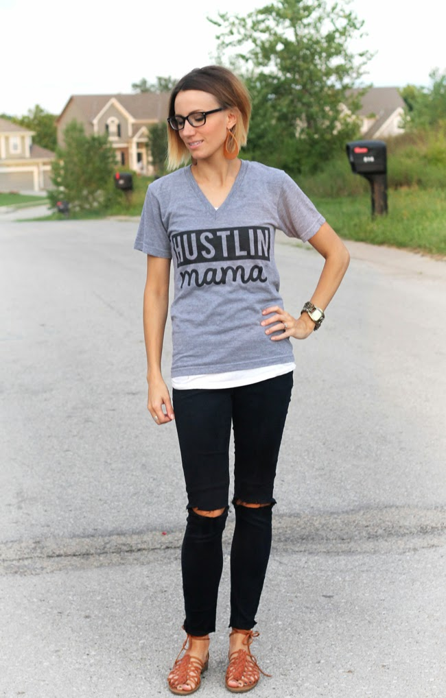 Hustling Mama graphic tee, distressed black denim