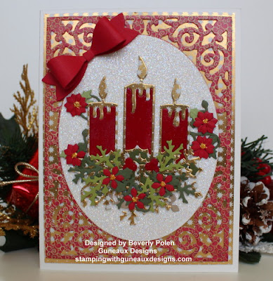 ODBD Custom Christmas Candles Dies, ODBD Custom Small Bow Dies, ODBD Custom Lovely Leaves Dies, ODBD Christmas Paper Collection 2015, Card Designer Beverly Polen