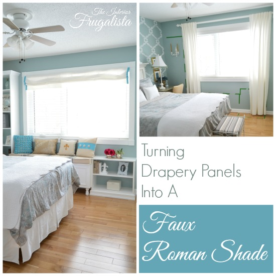 Drapery Panels Before and Faux Roman Shade After
