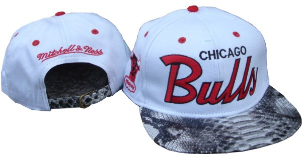 MBLV R APPAREL  MITCHELL   NESS  CHICAGO BULLS Snakeskin Snapback ca634246acd