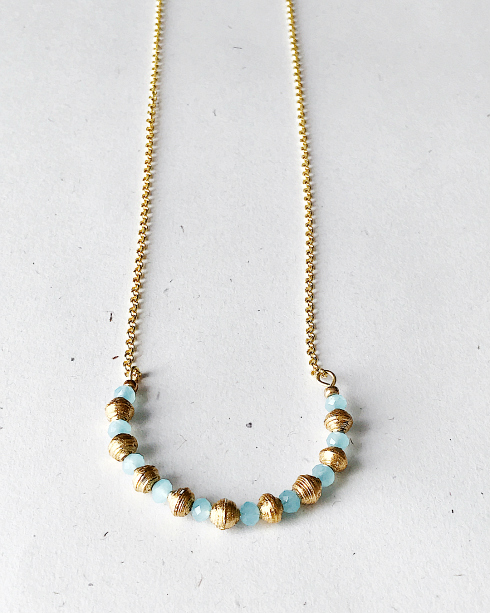 metallic paper balls and aqua beads necklace with golden chain