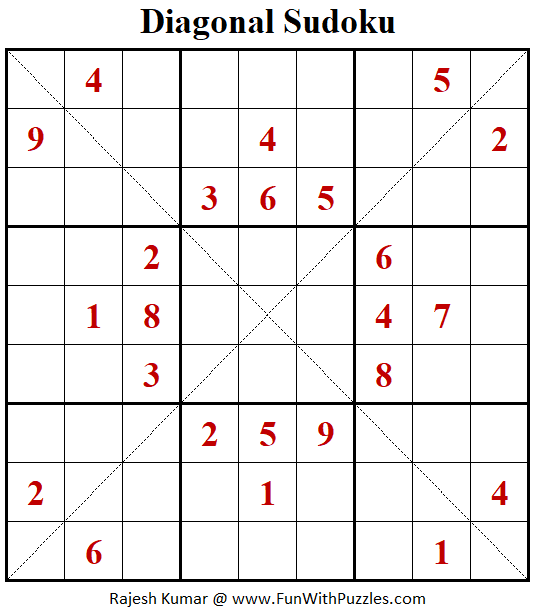 Diagonal Sudoku Puzzle (Fun With Sudoku #306)