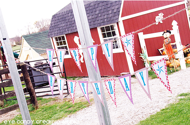 horse park, farm, cowboy birthday party, happy birthday banner