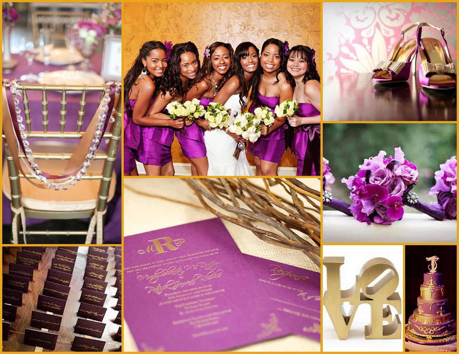 Enchanted Expectations Purple and Gold Wedding