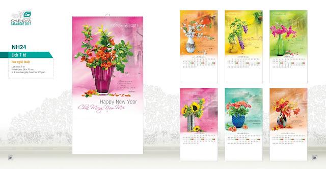 NH24 - Hoa nghệ thuật, Lịch treo tường 7 tờ, in lịch, mẫu lịch hoa nghẹ thuật