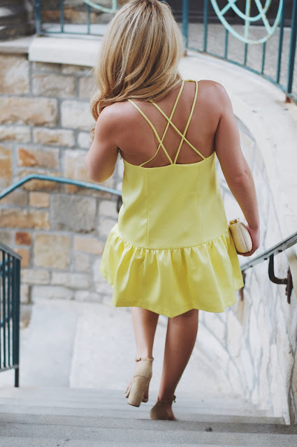strappy back ruffled yellow dress