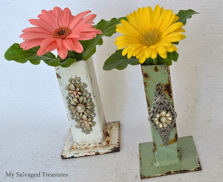 how to turn rusty old industrial footings into pretty vases