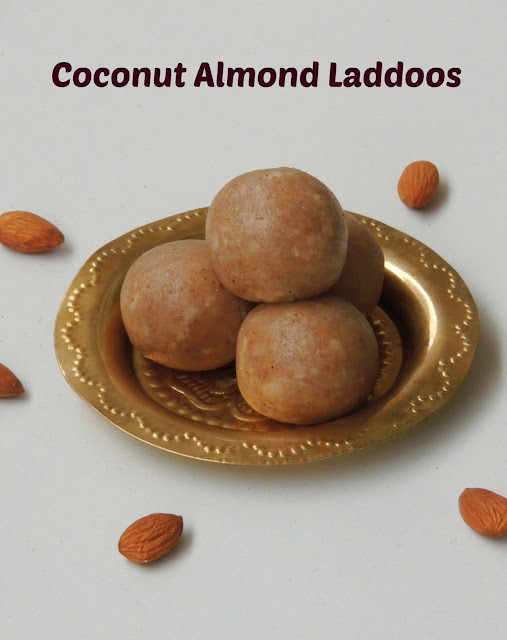 Almond Coconut laddoos, Coconut laddoos with almonds