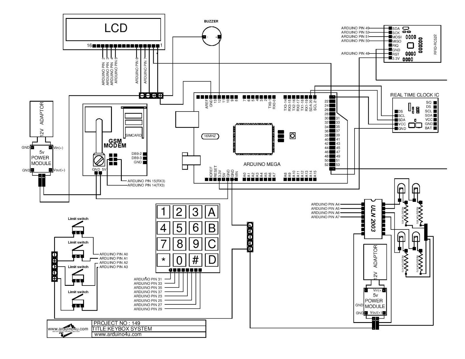 Projek Elektronik Arduino4u 149 Sms Keybox System