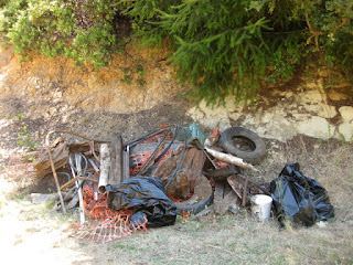 Pile of junk hauled up from the creek, Castle Rock State Park, Los Gatos, California