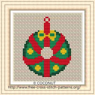 Mini Christmas Ornament 7, Free and easy printable cross stitch pattern