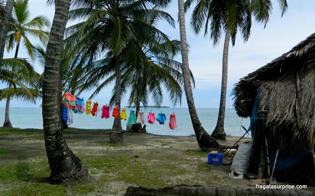 Varal em uma ilha do Arquipélago de San Blas