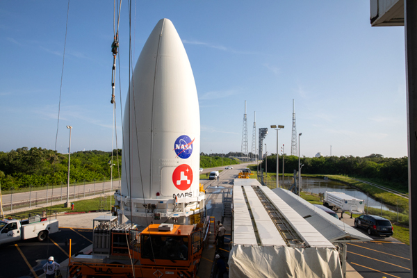 The Atlas V payload fairing containing NASA's Perseverance Mars rover is transported to the Vertical Integration Facility at Cape Canaveral Air Force Station's Space Launch Complex (SLC)-41...on July 7, 2020.