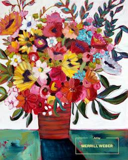 Color My World original mixed media framed floral painting by Pennsylvania artist Merrill Weber