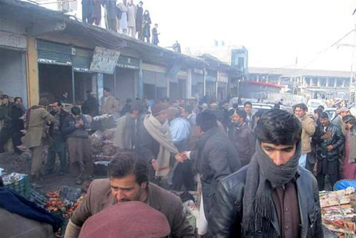 Scene of Pakistan market blast