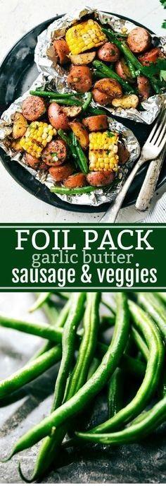Foil Pack Garlic Butter Sausage & Veggies