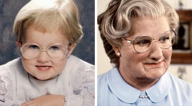 11 Funny Pictures Of Babies Who Resemble Popular Celebrities - As a child, my friend resembled Mrs. Doubtfire.