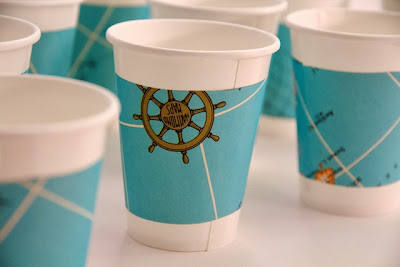 DIY Nautical baby shower cup decorations