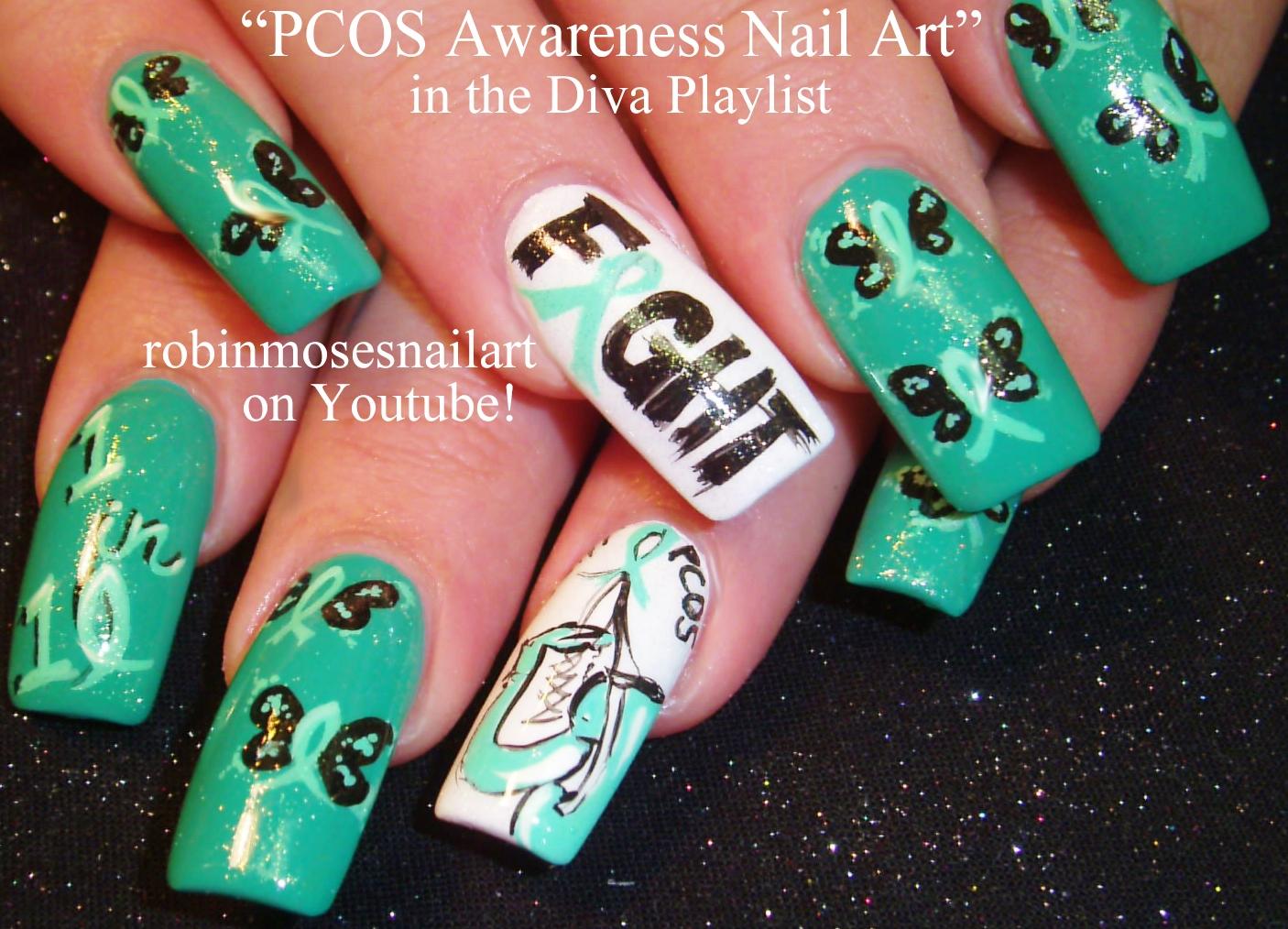 Nail Art By Robin Moses Pcos Nail Art Pcos Nails Teal And White
