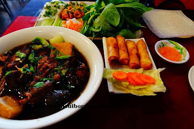 Lunch at Tra Vinh Vietnamese restaurant in Northbridge, Perth. Oxtail noodle soup, fried spring rolls, and sugar cane prawns