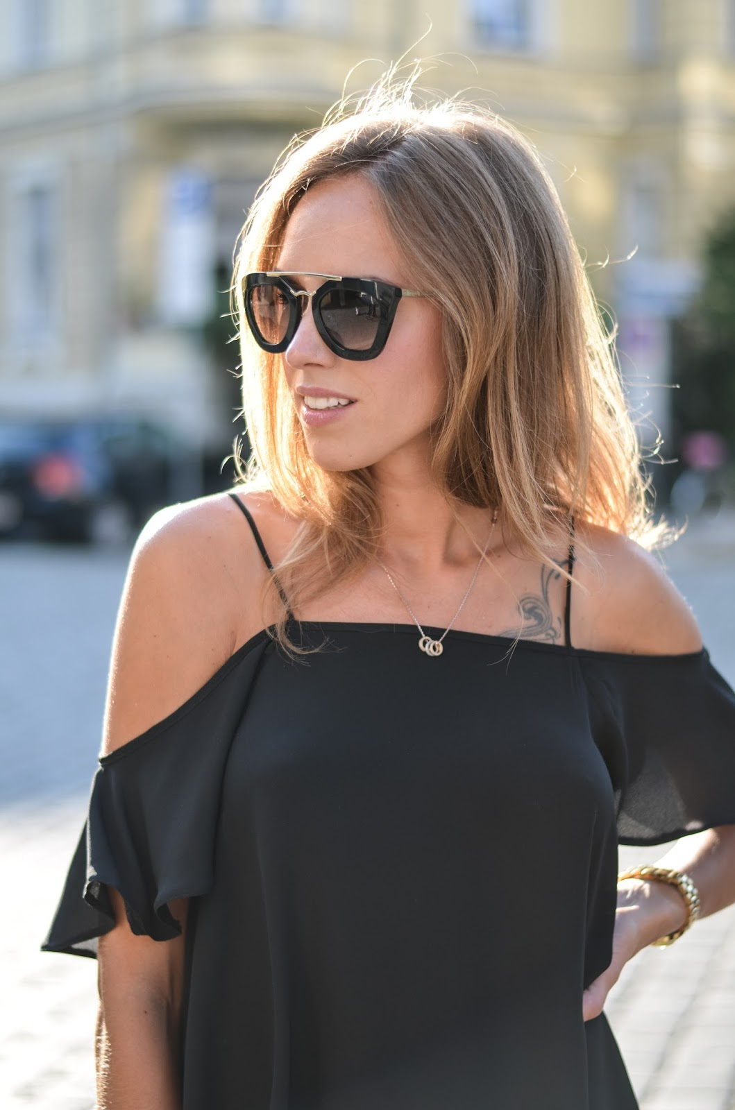 kristjaana mere asos off shoulder top prada sunglasses