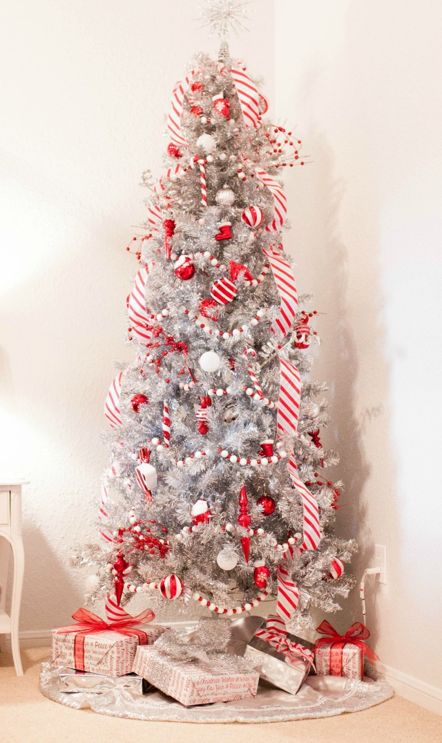 candy cane christmas candy cane tree silver christmas tree silver tree peppermint - Peppermint Christmas Decorations