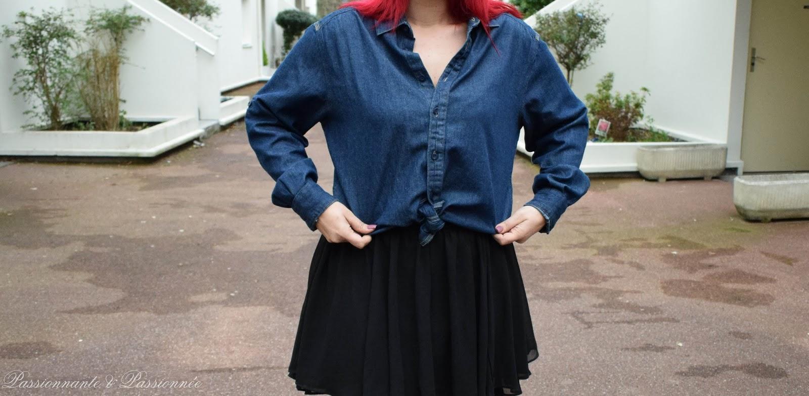 look jupe et chemise en jean
