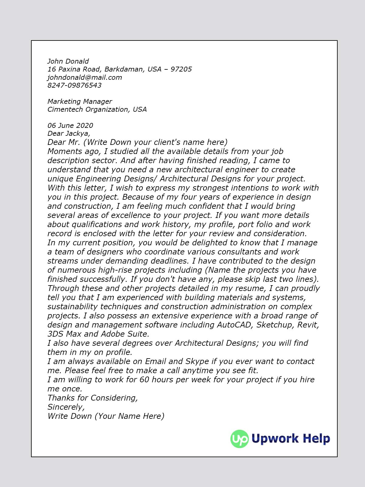 Cover Letter Sample for Engineering Design/ Architectural Design ...