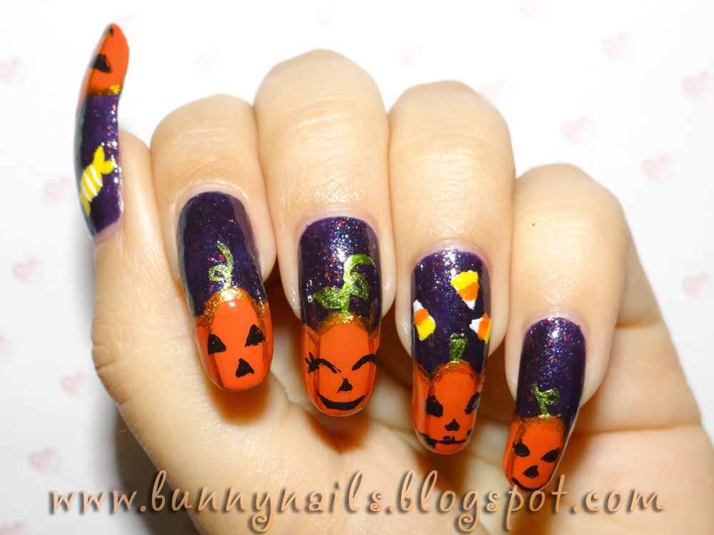 Bunny Nails: Halloween Pumpkin Nail Art and Tutorial