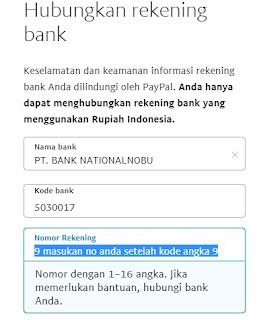 cara memasukan no rekening ke paypal