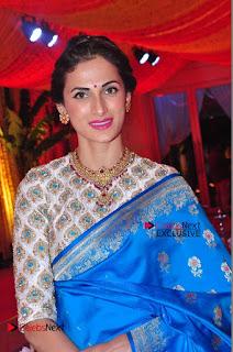 Actress Model Shilpa Reddy Exclusive Stills in Blue Saree at Vijay Karan Aashna Wedding  0044.JPG