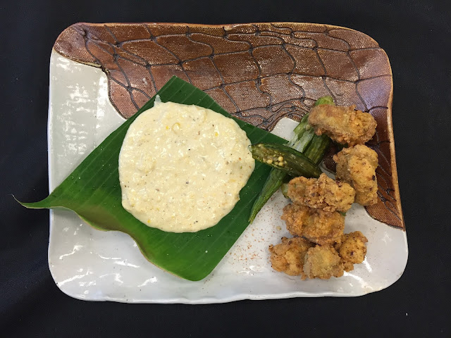 Smoked Fried Oysters, Okra and Potato Batter, Dehydrated Okra, Corn Aioli