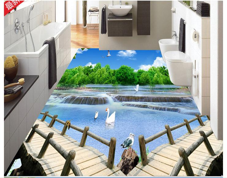 Awesome 3D Bathroom Floor Murals