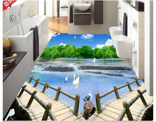 awesome 3D bathroom floor murals - epoxy flooring options