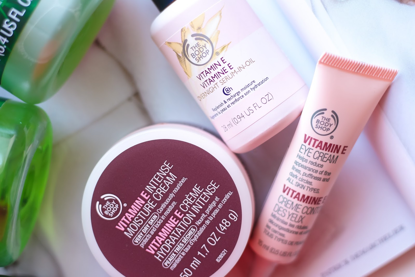 The Body Shop, The Body Shop Vitamin E Overnight Serum in Oil, The Body Shop Vitamin E Intense Moisture Cream, The Body Shop Vitamin E Eye Cream