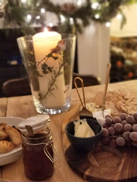 Cheeseboard in candlelight
