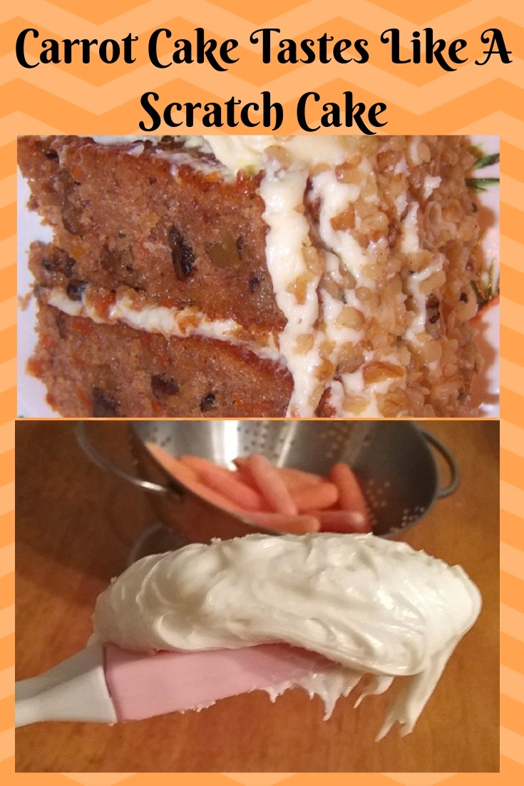 this is a pin for later photo of a piece of carrot cake and the frosting on a spatula to show how fluffy it is
