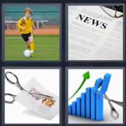 4 Fotos 1 Palabra Nino Jugando Al Futbol Tijeras Cortando News