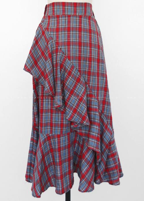 Asymmetrical Frill Check Skirt