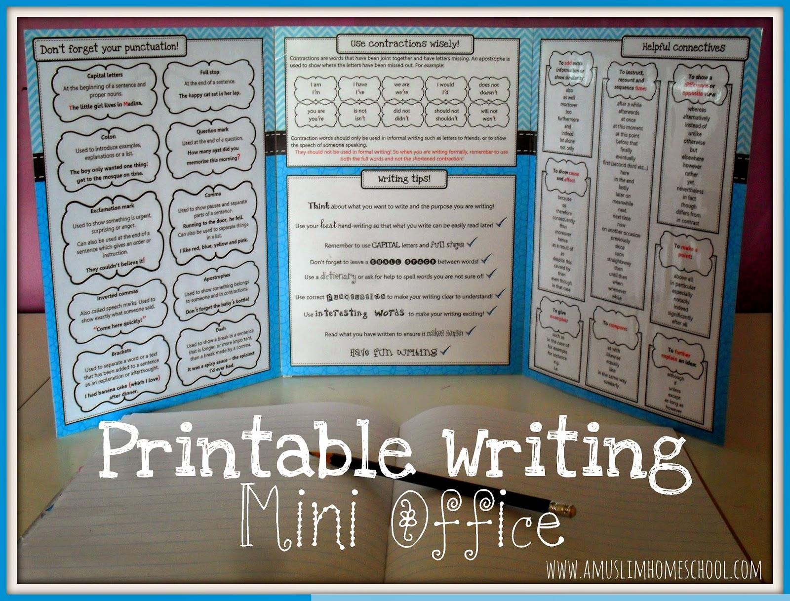 Iman S Home School Printable Writing Mini Office