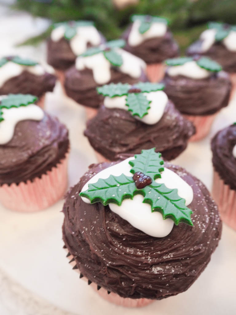 Chocolate Fudge Christmas Pudding Cupcakes