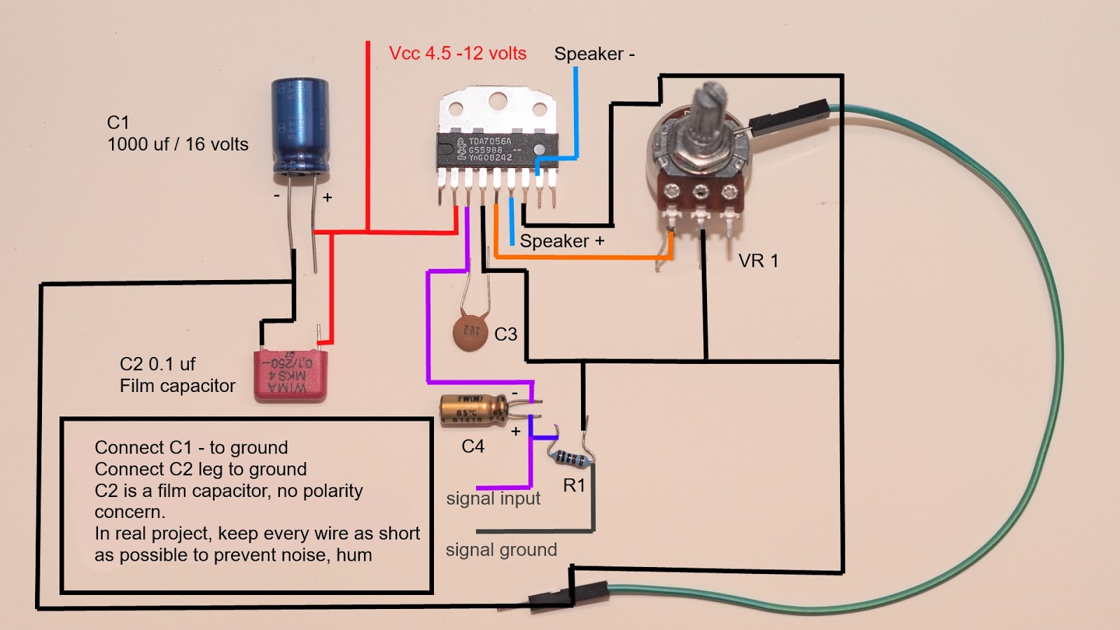 Pam 8403 Board Amp Wiring Diagram For Pa Speaker Diagrams Tda 7056 A Is An Audio Power Amplifier Ic That Has 5 Watts Output With 8 Ohms And 3 16 Speakerthe Simple To