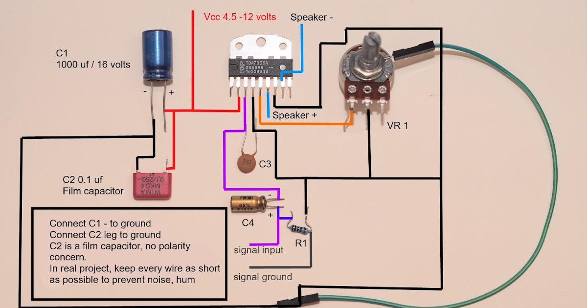 5 watts amplifier TDA7056A wiring diagram