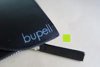 Logo am Geldbeutel: bupell Flache Portemonnaie mit herausnehmbarem Ausweisfach - Aus echtem Leder - Seitlichem Münzfach mit Reißverschluss - Schwarz