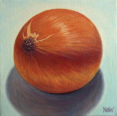 painting of orange onion and turquoise still life fruit vegetables km withers