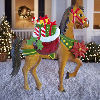 Christmas Horse Decorations.Outdoor Horse Themed Christmas Holiday Decorations