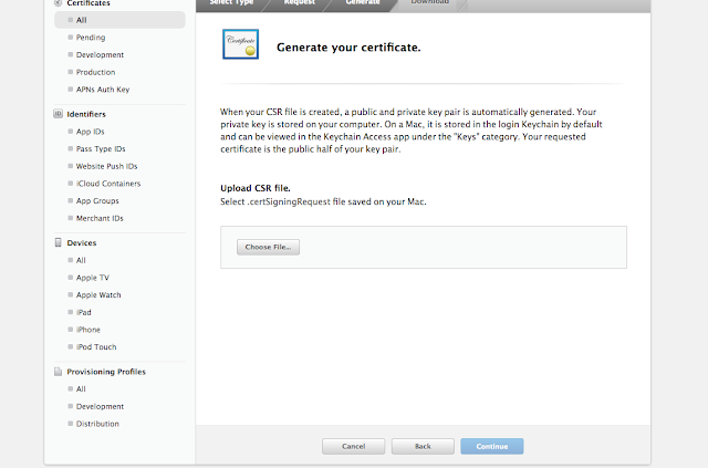 Select CSR file by clicking choose file button