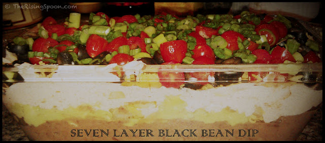 Seven Layer Black Bean Dip | www.therisingspoon.com