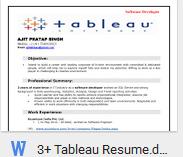 Tableau Developer Resume.Download Tableau Developer Resume Sample Template Format